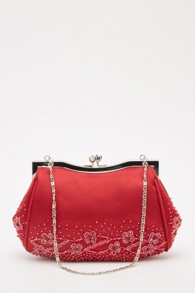 Bead Embellished Clutch Bag