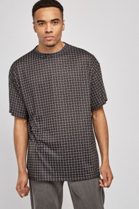 Checked Grid Print Top