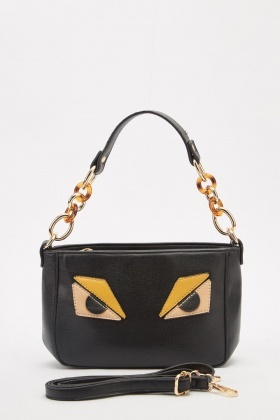 Eye Applique Trim Handbag