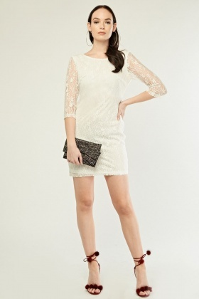 Patterned Lace Overlay Mini Dress