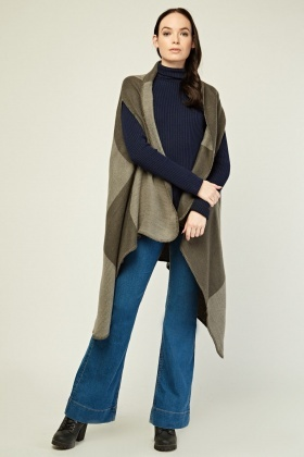 Printed Waterfall Asymmetric Poncho