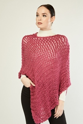 Sequin Insert Loose Knit Poncho