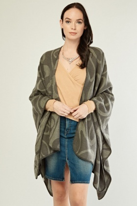 Stitched Trim Printed Poncho