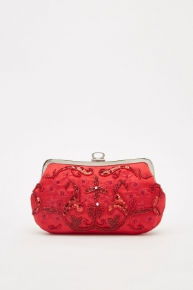 Beaded Sateen Clutch Bag