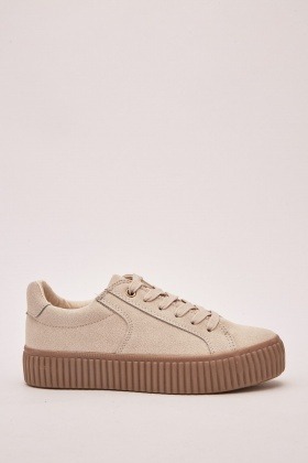 Chunky Brushed Suedette Trainers