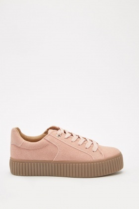 Chunky Suedette Lace Up Trainers