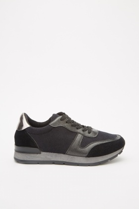 Contrasted Cut Out Metallic Trainers