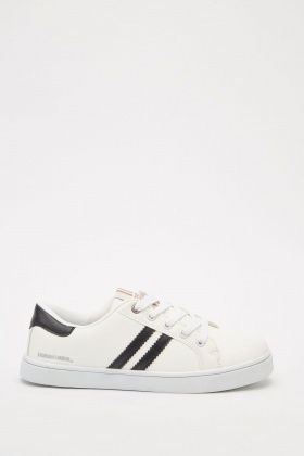 Contrasted Striped Low Top Trainers