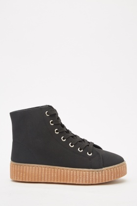 Lace Up Black High Top Trainers