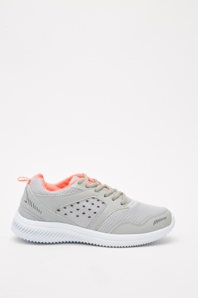 Lace Up Contrasted Textured Trainers