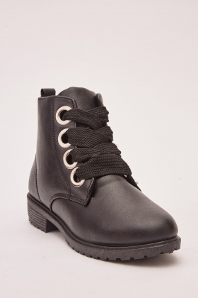 Lace Up Faux Leather Ankle Boots