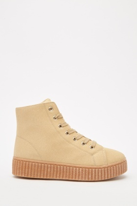 Lace Up Suedette High Top Trainers