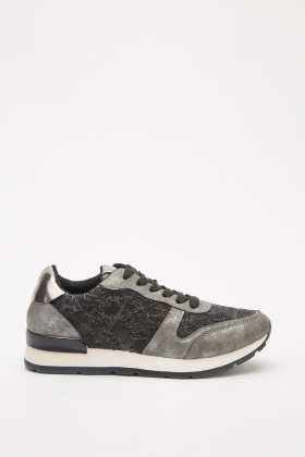 Metallic Patterned Low Top Trainers