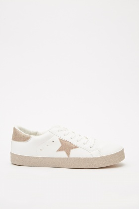 Metallic Star Detail Lace Up Trainers