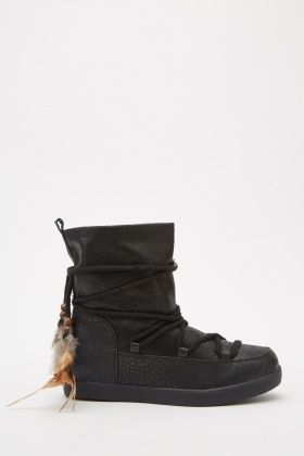 Mock Croc Tie Up Boots