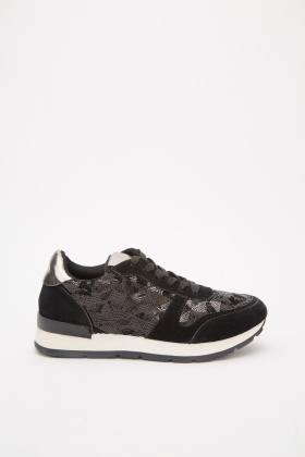 Sequin Contrasted Lace Up Trainers
