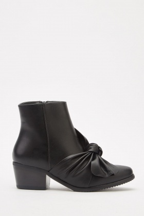 Twisted Front Detail Faux Leather Ankle Boots