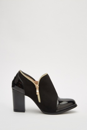 Zipper Suedette Block Heels