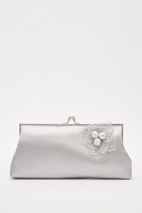 3D Flower Sateen Clutch Bag