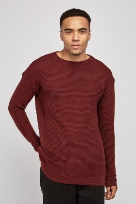 Crew Neck Ribbed Knit Jumper