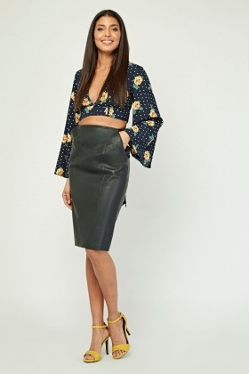 6bf9e5f044d Faux Leather Midi Pencil Skirt