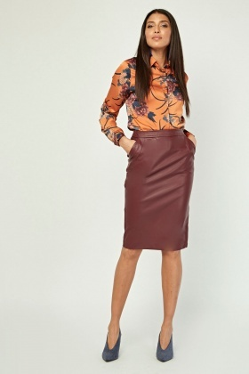 Faux Leather Midi Wine Skirt