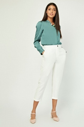 High Waist Tapered Crop Trousers