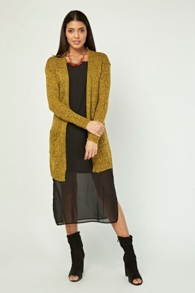 Long-Line Speckled Knit Cardigan