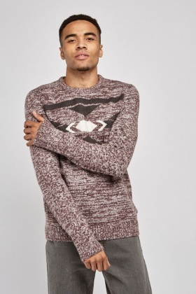 Printed Front Speckled Knit Jumper