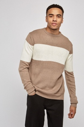 Textured Two-Tone Knit Jumper
