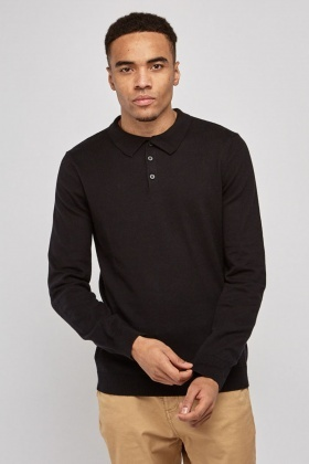 Thin Knit Polo Sweater
