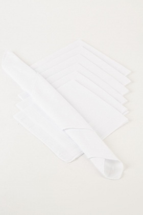 7 Pack Of White Handkerchiefs