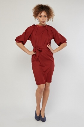 Belted Raglan Sleeve Tunic Dress