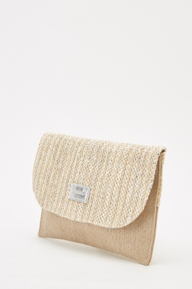 Contrasted Woven Clutch Bag
