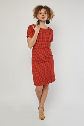 Dotted Patterned Midi Dress