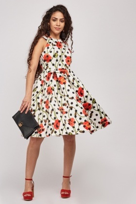Floral Printed Midi Flared Dress 16b06c782
