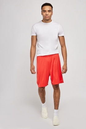 Mens Red Midi Shorts