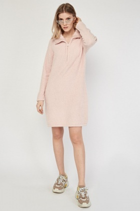 Poly Fleece Zip Up Jumper Dress