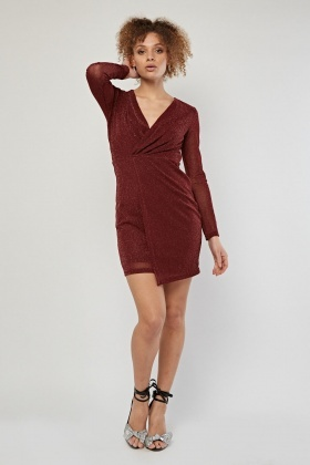 Shimmery Long Sleeve Wrap Dress