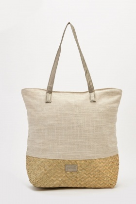 Straw Weave Panel Tote Bag