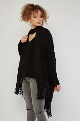 Textured Patterned Sleeveless Poncho
