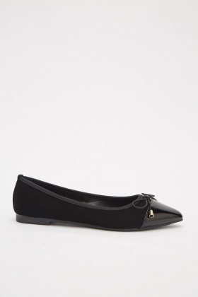 Bow Front Hi-Shine Ballet Pumps