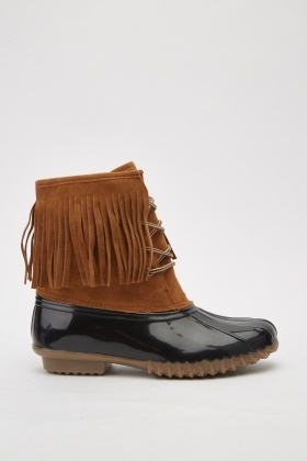 Contrasted Lace Up Tasseled Boots