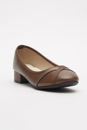 Cross Trim Block Heel Pumps