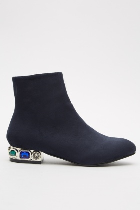Diamante Heel Detailed Ankle Boots
