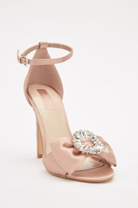 Embellished Bow Front Heeled Sandals
