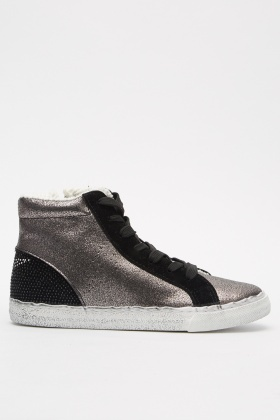 Encrusted Metallic High Top Sneakers