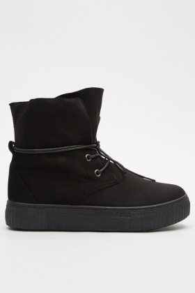 Faux Suede High Top Plimsolls