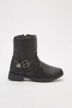 Quilted Buckle Side Boots
