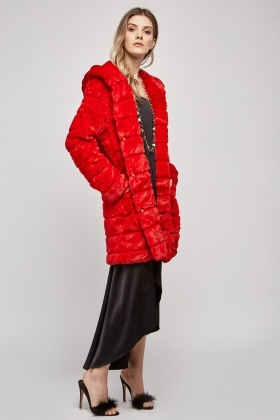 Red Hooded Faux Fur Coat
